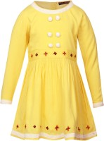 Cool Quotient Girls Maxi/Full Length Casual Dress(Yellow, Full Sleeve)