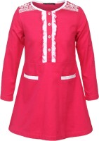 Cool Quotient Girls Maxi/Full Length Casual Dress(Pink, Full Sleeve)