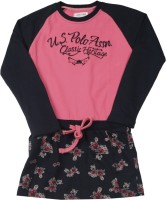 US Polo Kids Girls Mini/Short Casual Dress(Pink, Full Sleeve)