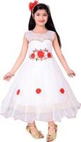Addyvero Girls Maxi/Full Length Party Dress(White, Sleeveless)