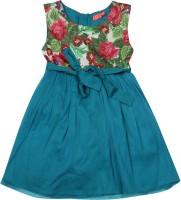 Elle Kids Girls Midi/Knee Length Casual Dress(Blue, Sleeveless)
