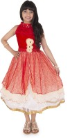 Addyvero Girls Maxi/Full Length Party Dress(Red, Sleeveless)
