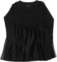 Elle Kids Girls Midi/Knee Length Casual Dress(Black, Full Sleeve)