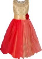 Addyvero Girls Maxi/Full Length Party Dress(Pink, Sleeveless)