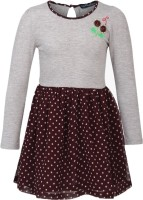 Cool Quotient Girls Maxi/Full Length Casual Dress(Multicolor, Full Sleeve)