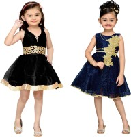 Adiva Girls Midi/Knee Length Party Dress(Dark Blue, Sleeveless)
