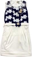 Kids Care Girls Midi/Knee Length Party Dress(White, Sleeveless)