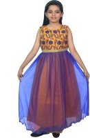 SSMITN Girls Maxi/Full Length Party Dress(Blue, Sleeveless)