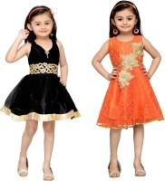 Adiva Midi/Knee Length Party Dress(Orange)