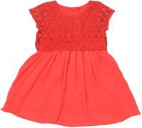 Elle Kids Girls Midi/Knee Length Casual Dress(Red, Cap sleeve)