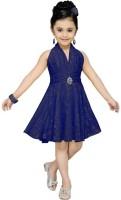 Aarika Girls Midi/Knee Length Party Dress(Dark Blue, Sleeveless)