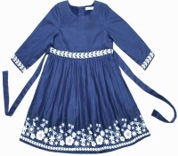 Caca Cina Girls Midi/Knee Length Casual Dress(Dark Blue, 3/4 Sleeve)