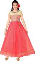 Trendyy Girls Girls Maxi/Full Length Party Dress(Pink, Sleeveless)