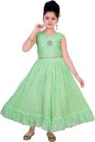 Saarah Girls Maxi/Full Length Party Dress(Green, Sleeveless)