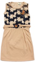 Kids Care Girls Midi/Knee Length Party Dress(Beige, Sleeveless)