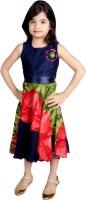 Tiny Toon Girls Midi/Knee Length Casual Dress(Blue, Sleeveless)