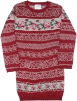 Elle Kids Girls Mini/Short Casual Dress(Red, Full Sleeve)