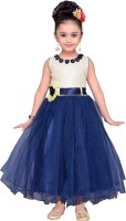 Adiva Girls Maxi/Full Length Party Dress(Blue, Sleeveless)