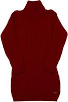 Elle Kids Girls Midi/Knee Length Casual Dress(Red, Full Sleeve)