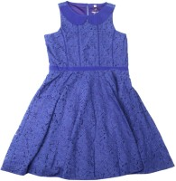 Allen Solly Junior Girls Midi/Knee Length Casual Dress(Blue, Sleeveless)