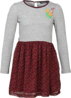 Cool Quotient Girls Maxi/Full Length Casual Dress(Grey, Full Sleeve)