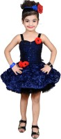 Aarika Girls Mini/Short Party Dress(Blue, Sleeveless)