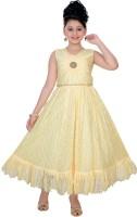 Saarah Girls Maxi/Full Length Party Dress(Yellow, Sleeveless)
