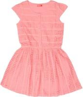 Elle Kids Girls Mini/Short Casual Dress(Pink, Half Sleeve)