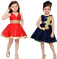 Adiva Girls Midi/Knee Length Party Dress(Dark Blue, Sleeveless)