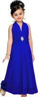 Aarika Girls Maxi/Full Length Party Dress(Blue, Sleeveless)