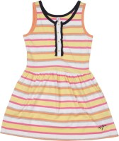 US Polo Kids Girls Mini/Short Casual Dress(White, Sleeveless)