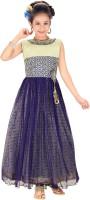 Trendyy Girls Girls Midi/Knee Length Party Dress(Blue, Sleeveless)
