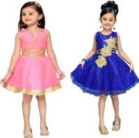 Adiva Girls Midi/Knee Length Party Dress(Blue)