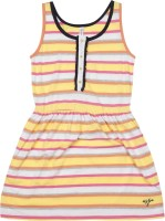 US Polo Kids Girls Mini/Short Casual Dress(Multicolor, Sleeveless)