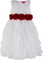 Toy Balloon Kids Girls Midi/Knee Length Party Dress(White, Sleeveless)