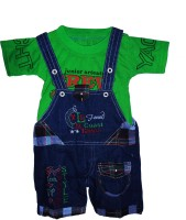 Cute Raskals Dungaree For Boys Party Printed Denim(Green, Pack of 1)
