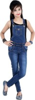 Sunday Casual Dungaree For Girls Casual Solid Cotton(Dark Blue, Pack of 1)