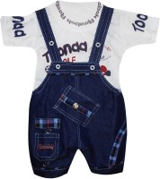 Cute Raskals Dungaree For Boys Party Printed Denim(White, Pack of 1)