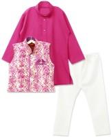BownBee Boys Kurta, Waistcoat and Pyjama Set(Pink Pack of 1)