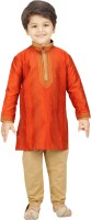 Shree Shubh Boys Kurta and Pyjama Set(Orange Pack of 1)