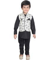 Nikky Fashion Boys Kurta, Waistcoat and Pyjama Set(Black Pack of 1)