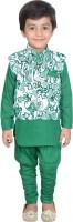 Nikky Fashion Boys Kurta, Waistcoat and Pyjama Set(Green Pack of 1)