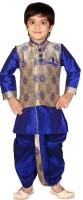 Neeya Fashions Boys Kurta, Waistcoat and Dhoti Pant Set(Multicolor Pack of 1)