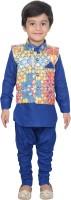 Nikky Fashion Boys Kurta, Waistcoat and Pyjama Set(Blue Pack of 1)