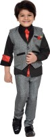 AJ Dezines Boys Shirt, Waistcoat and Pant Set(Grey Pack of 1)