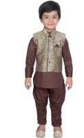 Nikky Fashion Boys Kurta, Waistcoat and Pyjama Set(Maroon Pack of 1)