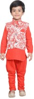 Nikky Fashion Boys Kurta, Waistcoat and Pyjama Set(Red Pack of 1)