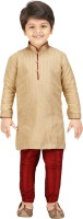 Shree Shubh Boys Kurta and Pyjama Set(Beige Pack of 1)