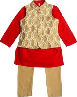 Campana Boys Kurta, Waistcoat and Pyjama Set(Red Pack of 1)