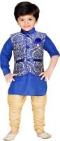 AJ Dezines Boys Kurta, Waistcoat and Pyjama Set(Blue Pack of 1)